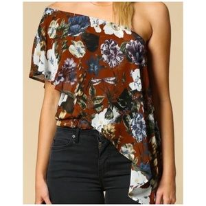 NWOT Brown floral chiffon one shoulder cascade top